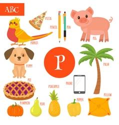 Letter P Cartoon alphabet for children Pear pig vector image vector image