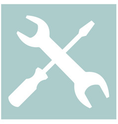screwdriver and wrench the white color icon vector image