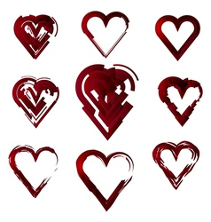 set of hearts stylized vector image vector image