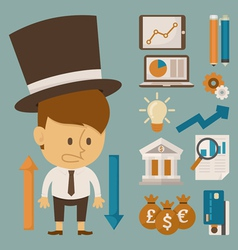 Businessman and tool character flat design vector image vector image