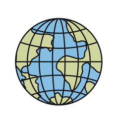 colorful silhouette front view globe earth world vector image
