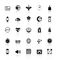 Design time icons with reflect on white background vector image vector image