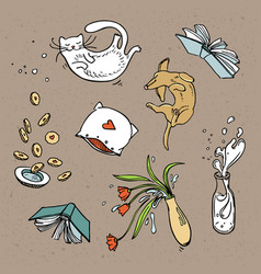 set of flying home related objects pets and food vector image