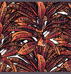 tropical leaves dense jungle seamless pattern vector image