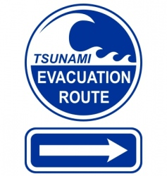 tsunami evacuation route sign vector image vector image
