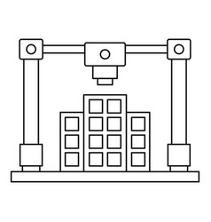 3d printer printing layout of building icon vector
