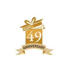 49 years gift box ribbon anniversary vector