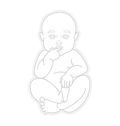 Adorable beautiful newborn baby looking up vector