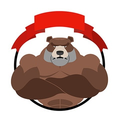 Angry bear athlete Round emblem Large wild animal vector