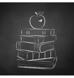 Apple on books vector
