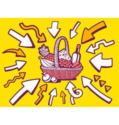 Arrows point to icon of basket with food vector