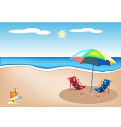 Beach Chairs with Umbrella and Toy vector image