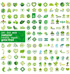 big set of logos ecology health natural vector image