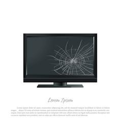 Broken computer monitor the screen cracked vector