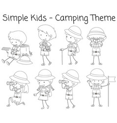 camping boy and girl doodle vector image