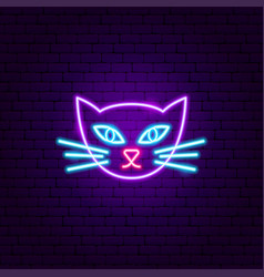 cat face neon sign vector image