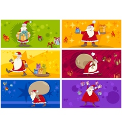 Christmas greeting cards collection vector