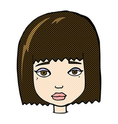 Comic cartoon female face vector