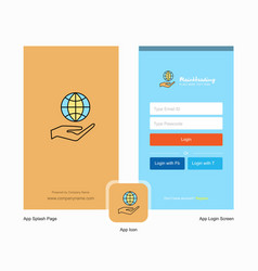 Company safe world splash screen and login page vector