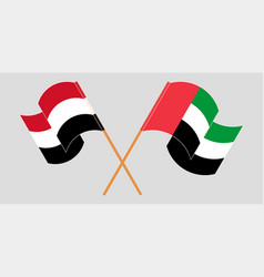 Crossed and waving flags yemen and united vector