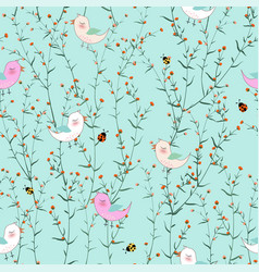 cute birds in blooming flowers garden vector image