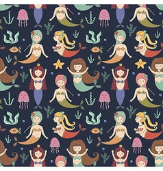 cute mermaids seamless pattern vector image