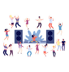 dancing people dj disco party dance women men vector image