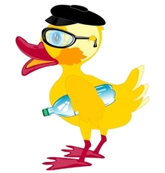 Duckling bespectacled and cap vector