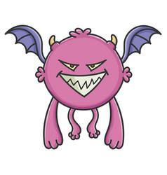 Evil purple flying cartoon bat monster vector
