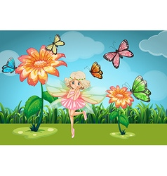 Fairy and butterflies in the garden vector image