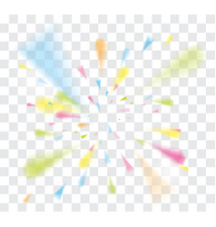 Falling confetti with ribbons on transparent vector