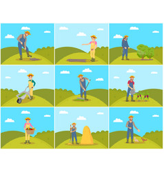 Farmer agriculture and farming vector
