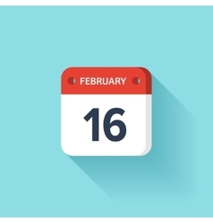 February 16 Isometric Calendar Icon With Shadow vector