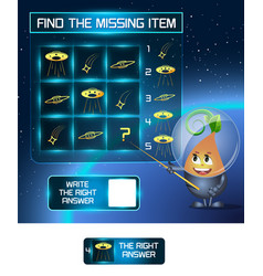 Find the missing item ufo shape vector