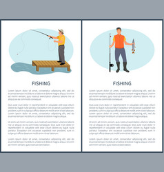 Fishing freetime activity fisher with rod and vector