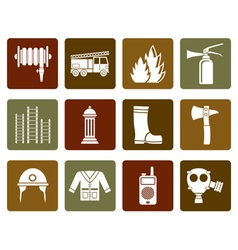 Flat fire-brigade and fireman equipment icon vector