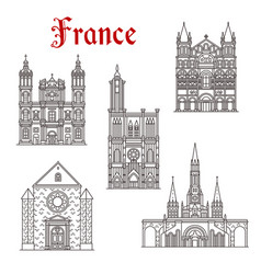 French travel landmark icon of religious building vector