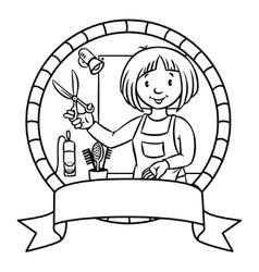Funny hairdresser Emblem Profession ABC series vector