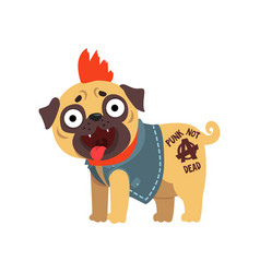 Funny pug dog character in a punk rocker costume vector