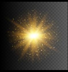 gold glitter star burst with sparkles vector image