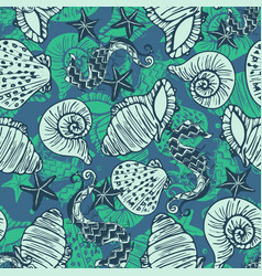 Green and blue retro seahorse starfish and vector