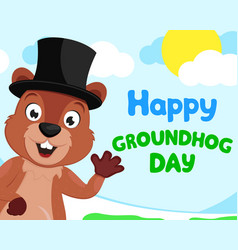 groundhog in a hat waving his paw against vector image