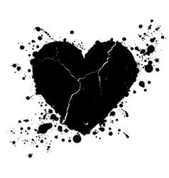 Grunge heart shape and paint blobs splattered vector
