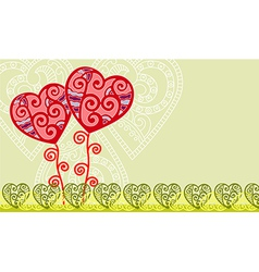 hand draw ornate valentines floral background vector image
