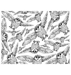 Hand drawn wallpaper background autumn owls vector
