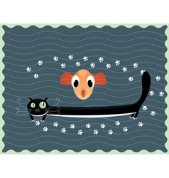 happy cat with fish vector image