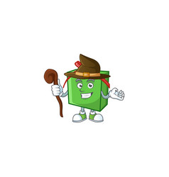 Happy halloween witch green gift box cartoon vector
