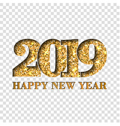 Happy new year card gold number 2019 golden vector