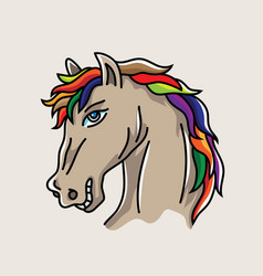 head horse cartoon vector image