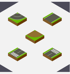 isometric road set of footer turn unilateral and vector image